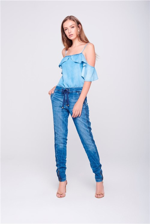 Calça Jogger Jeans com Zíper Lateral