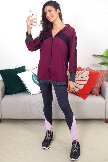 Calça Legging Colcci Fitness Performance Recortes Rosa - Cinza