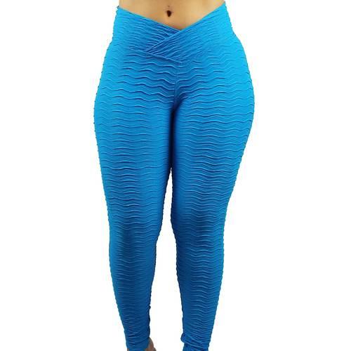 Calça Legging Fitness com Textura Lw11 Azul Azul M