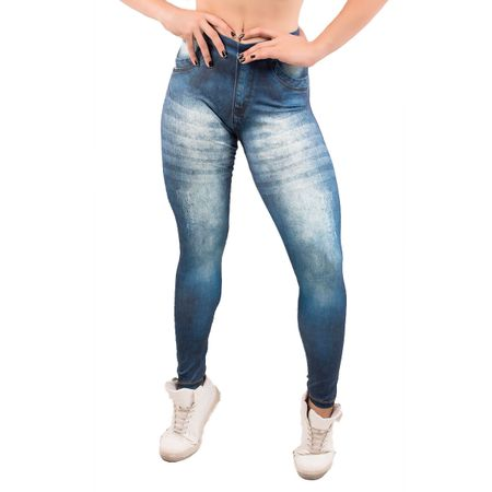 Calça Legging Fitness Fake Jeans Escuro Jeans Escuro / M