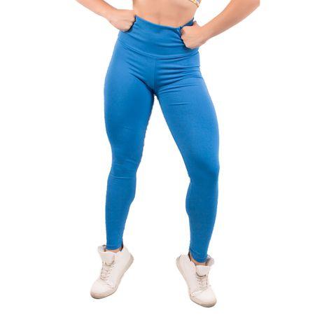 Calça Legging Suplex Liso com Cós Alto Azul / M