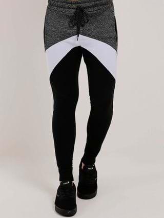 Calça Moletinho Masculina Cinza/preto