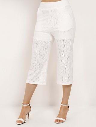 Calça Pantacourt Feminina Off White