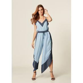 Calça Pantacourt Jeans Barra Assimétrica Azul Delave - M