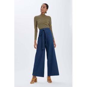 Calça Pantalona Amarração Cintura Alta Jeans - 34
