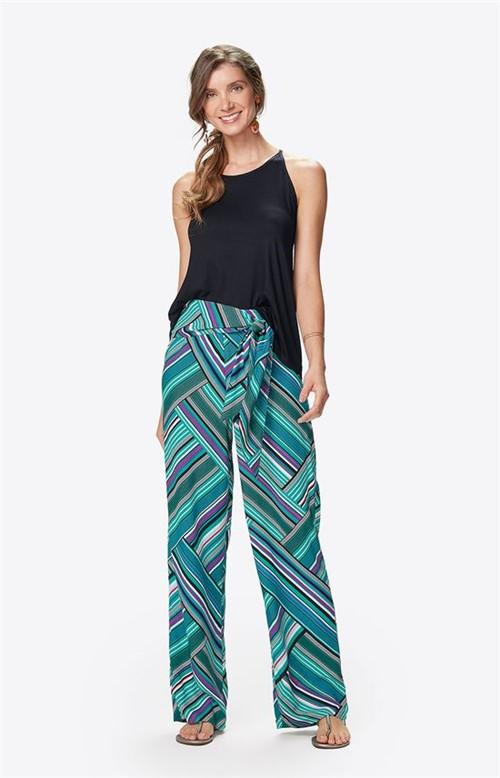 Calça Pantalona Amarração Malwee Turquesa - M