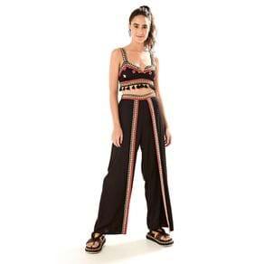 Calça Pantalona Bordada Espelhos Preto - M