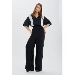 Calça Pantalona com Elástico Preto - 38