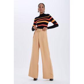 Calça Pantalona Crepe com Cinto Bege Cedro - 34