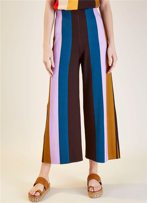 Calça Pantalona Estampa Marina Multicolor M