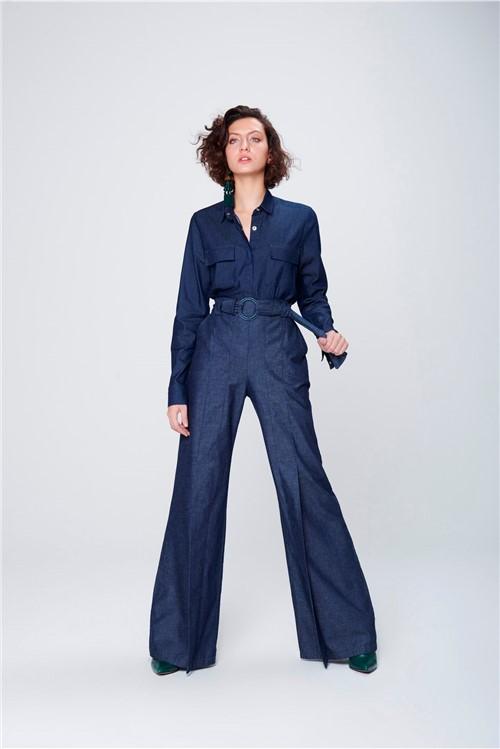 Calça Pantalona Jeans com Cinto Feminina