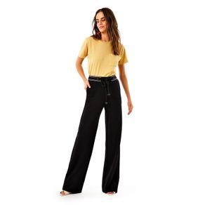 Calça Pantalona Jersey Amarração Preto - P