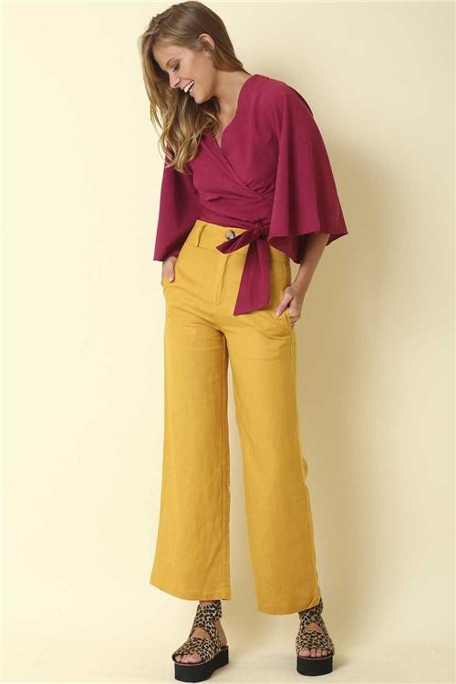 Calça Pantalona Linho - Amarelo Tamanho: G
