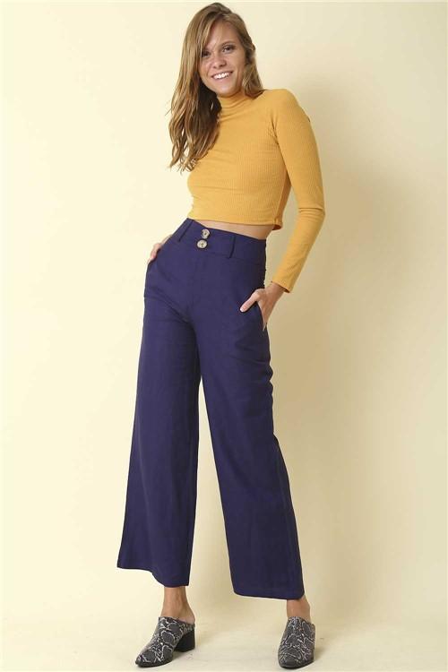 Calça Pantalona Linho - Azul Tamanho: G