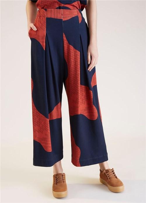 Calça Pantalona Pregas Estampa Urbana Azul P