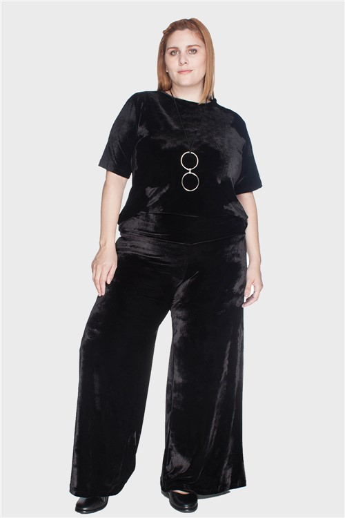Calça Pantalona Veludo Plus Size Preto-46/48
