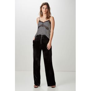 Calça Pantalona Veludo Zíper Preto - 34