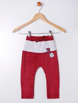 Calça Plush Infantil para Menino - Vermelho