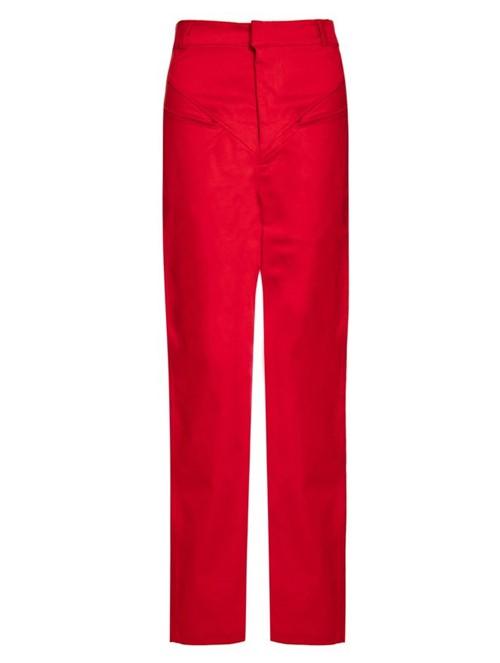 Calça Reta Color de Algodão Vermelha Tamanho 34