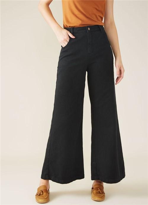 Calça Sarja a Pantalona Maxi Preto 36