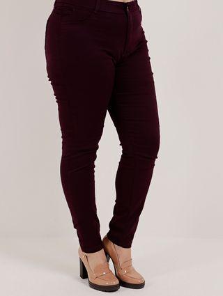 Calça Sarja Skinny Plus Size Feminina Vinho