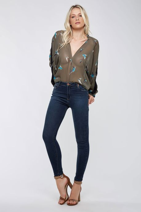 Calça Skinny Basic Azul Escuro Jeans Escuro - 34