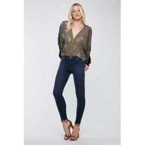Calca Skinny Basic Azul Escuro Jeans Escuro - 38