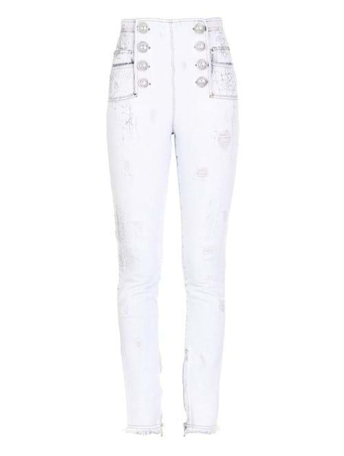Calça Skinny Bleached Cracked de Algodão Branca Tamanho 36