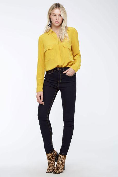 Calça Skinny Dark Stonada Jeans Escuro - 36