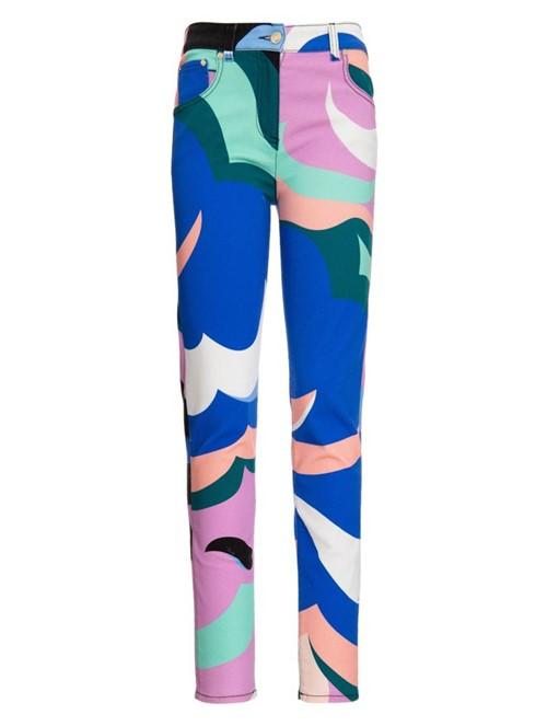 Calça Skinny de Algodão Estampada Azul Tamanho 42