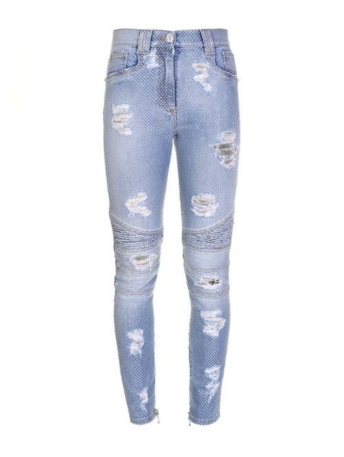 Calça Skinny Destroyed Jeans Azul Tamanho 40