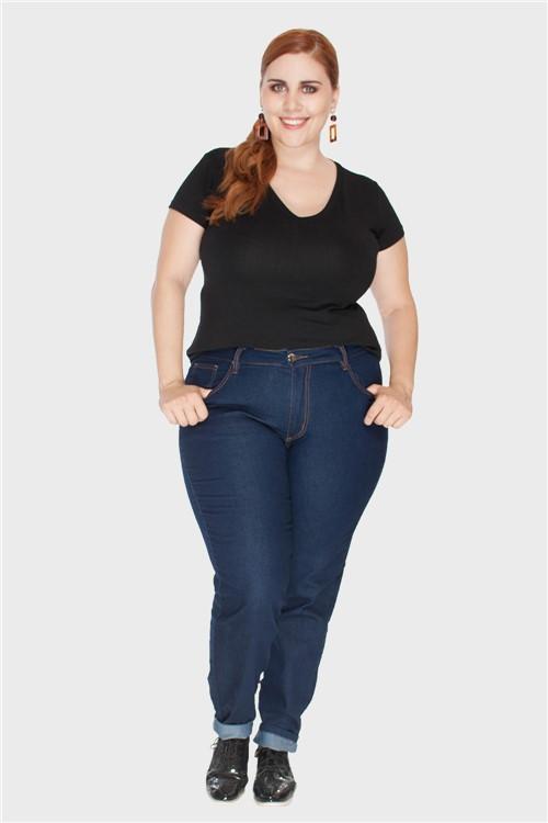 Calça Skinny Jeans Raw Plus Size Azul-46
