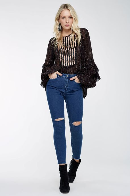 Calca Skinny Rasgo Joelho Jeans - 36