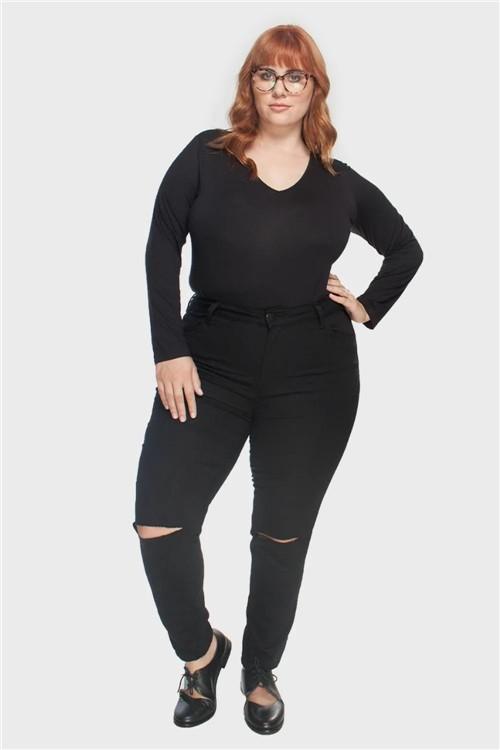 Calça Skinny Recorte Plus Size Preto-48