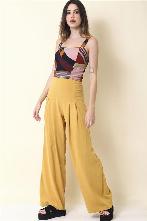 Calca Tecido com Pregas - Amarelo Tamanho: P