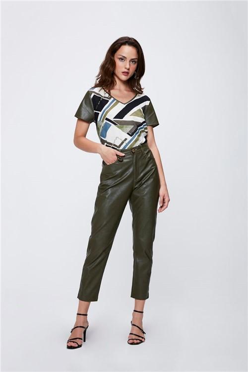 Calça Verde Militar Resinada Feminina