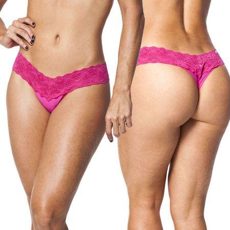 CALCINHA PINK EM MICROFIBRA e RENDA SENSUALLE-Pink-UNICO