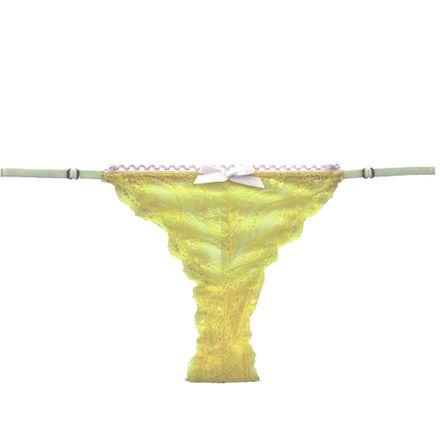 Calcinha Regulavel Renda Amarelo Fluo. M