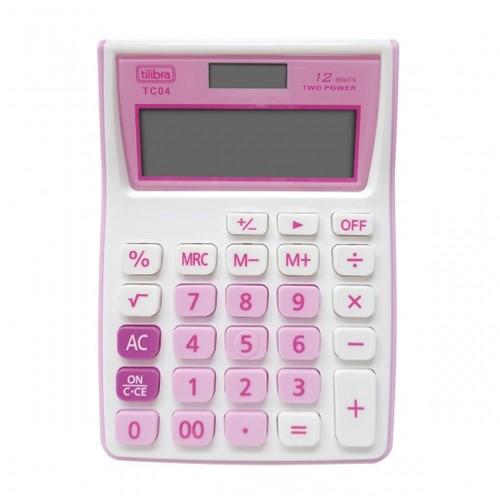 Calculadora de Bolso 12 Dígitos Grande TC04 Rosa 282138