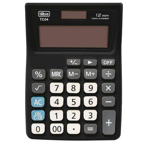 Calculadora de Bolso 120X90mm 12 Dígitos TC04 Preta - Tilibra