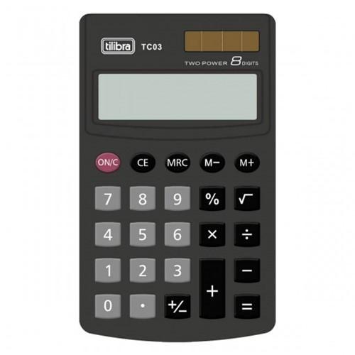 Calculadora de Bolso 8 Dígitos Grande TC03 Preta 239038