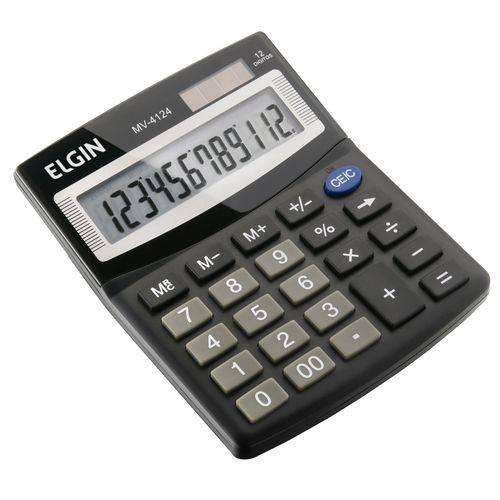 Calculadora de Mesa 12 Digitos com Célula Solar Preta Elgin