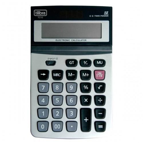 Calculadora de Mesa 12 Dígitos Grande Aço Escovado TC10 Cinza 248142