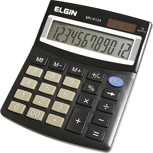 Calculadora de Mesa 12 Dígitos Preta MV4124 - Elgin