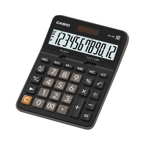 Calculadora de Mesa Casio Dx-12b, 12 Dígitos com Visor Amplo - Preto