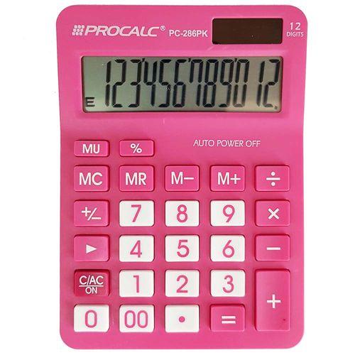 Calculadora de Mesa Procalc PC-286 Rosa 12 Dígitos 1011119