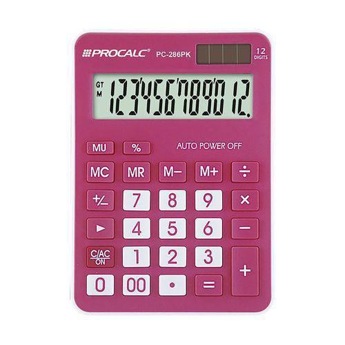 Calculadora de Mesa Procalc Pc286 Pk 12 Dígitos Pink
