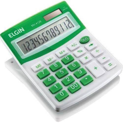 Calculadora de Mesa Visor - Alimentação Solar e Bateria - Blister Mv4126 Verde