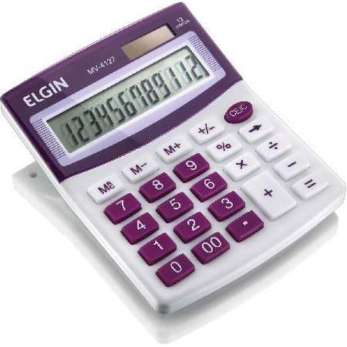 Calculadora de Mesa Visor - Alimentação Solar e Bateria - Blister Mv4127 Roxa