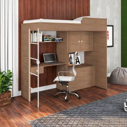 Cama Alta Multifuncional com Escrivaninha Escada CM9080 Art In Móveis